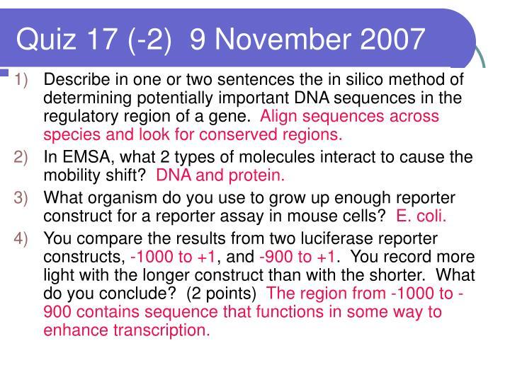 Quiz 17 (-2)  9 November 2007