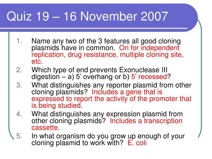 Quiz 19 – 16 November 2007