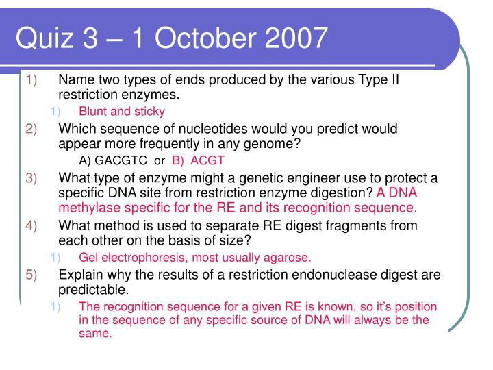 Quiz 3 – 1 October 2007