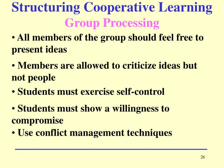 Structuring Cooperative Learning