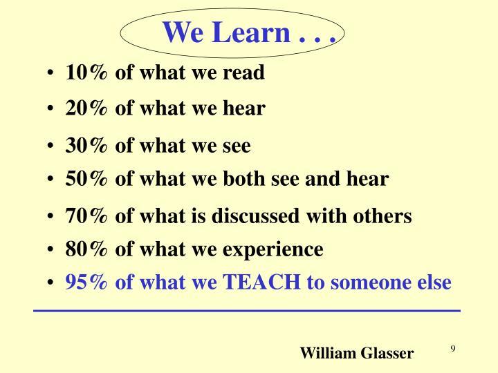 We Learn . . .