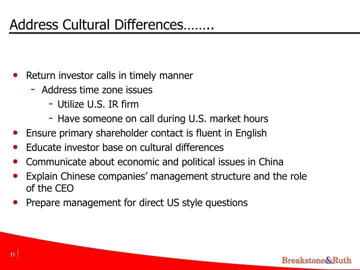 Address Cultural Differences……..