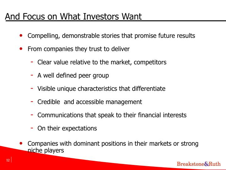 And Focus on What Investors Want