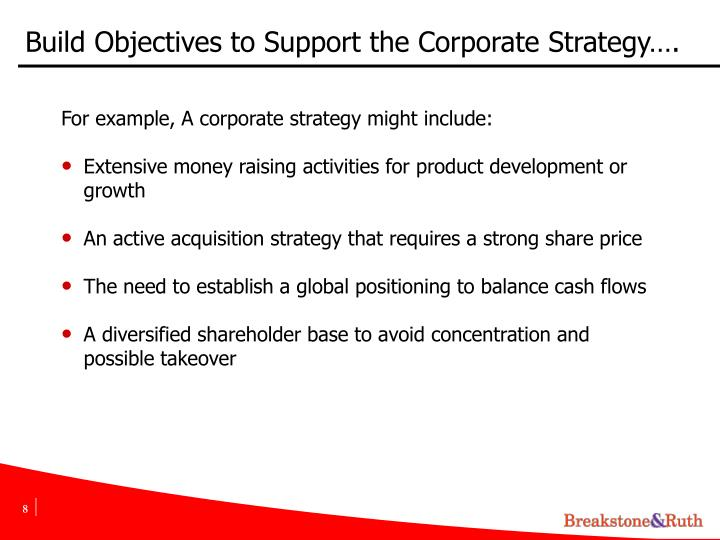 Build Objectives to Support the Corporate Strategy….