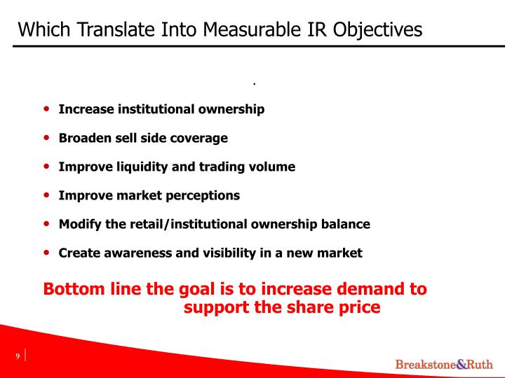Which Translate Into Measurable IR Objectives