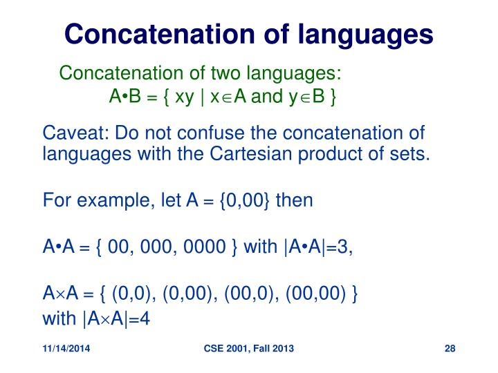Concatenation of languages