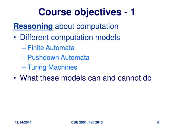Course objectives - 1