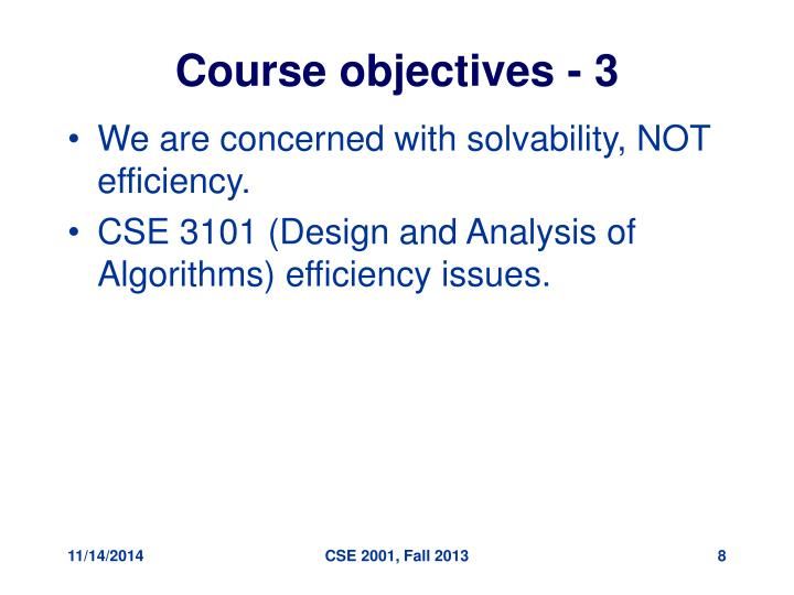 Course objectives - 3
