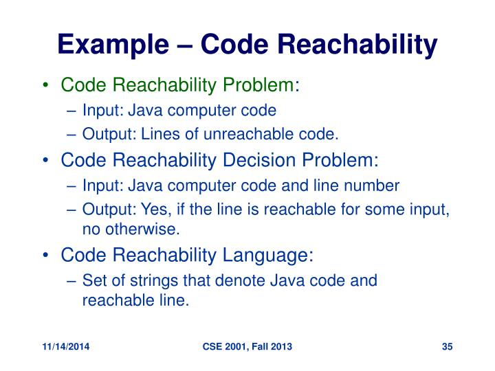 Example – Code Reachability