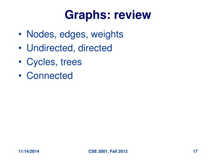 Graphs: review