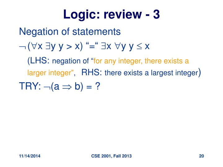 Logic: review - 3