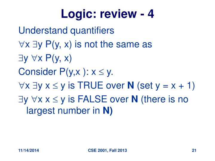 Logic: review - 4