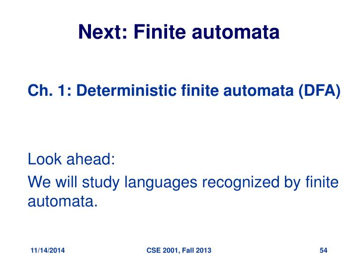 Next: Finite automata