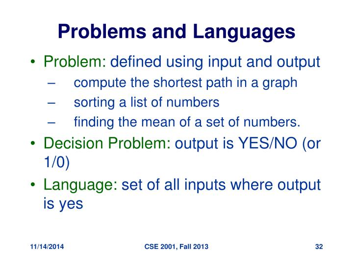 Problems and Languages