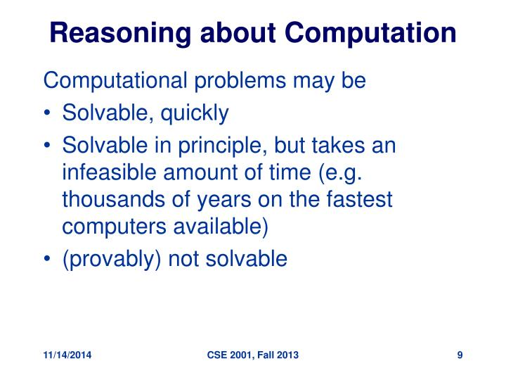 Reasoning about Computation