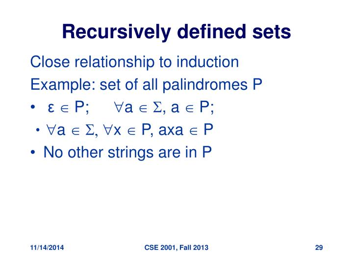 Recursively defined sets