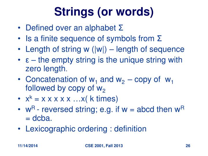 Strings (or words)