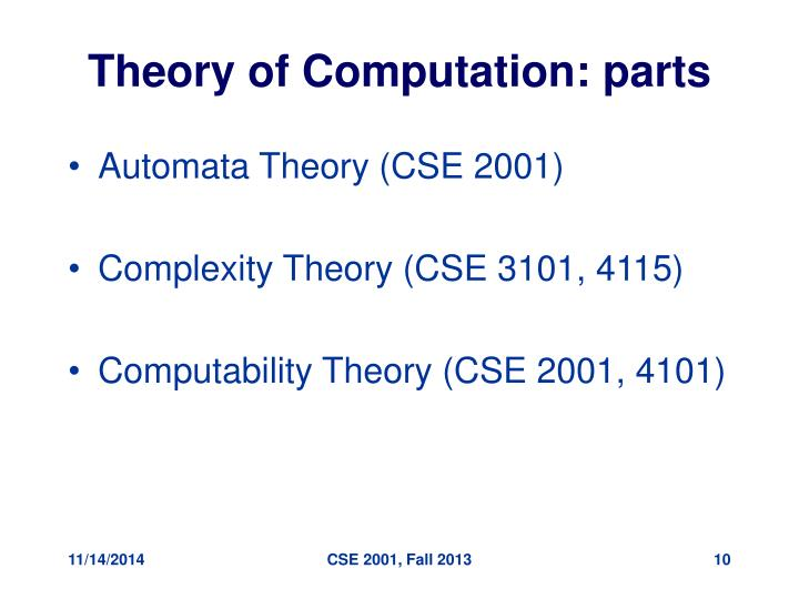 Theory of Computation: parts
