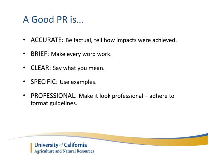 A Good PR is…