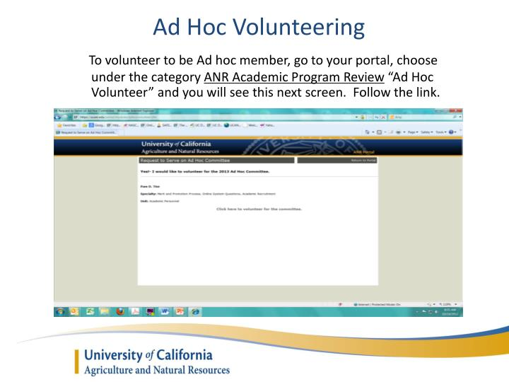 Ad Hoc Volunteering