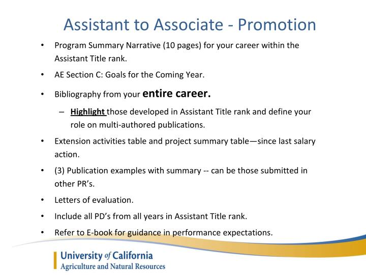 Assistant to Associate - Promotion