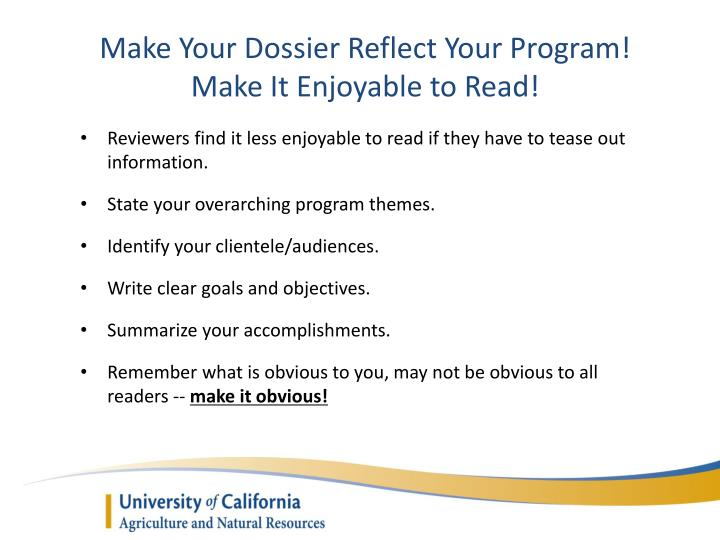 Make Your Dossier Reflect Your Program!