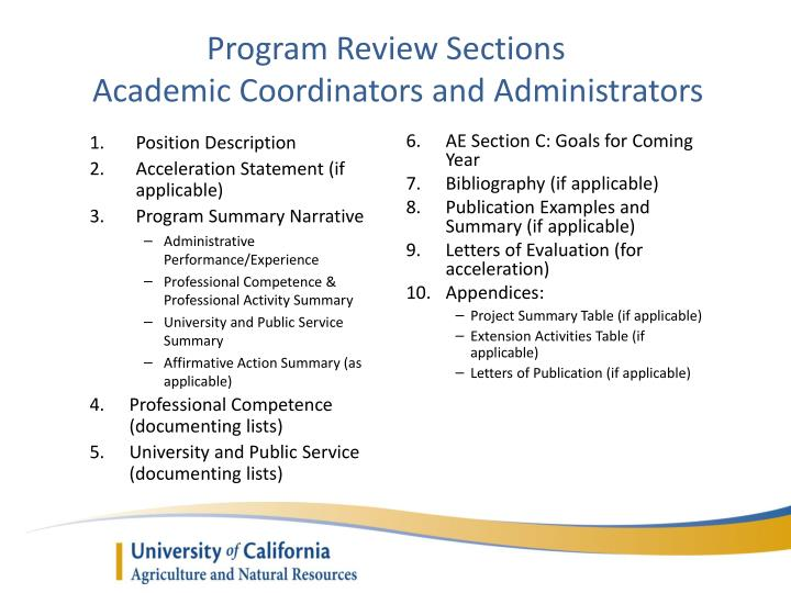 Program Review Sections