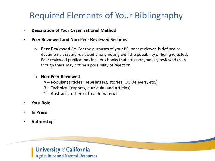 Required Elements of Your Bibliography