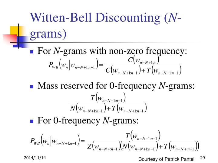 Witten-Bell Discounting (