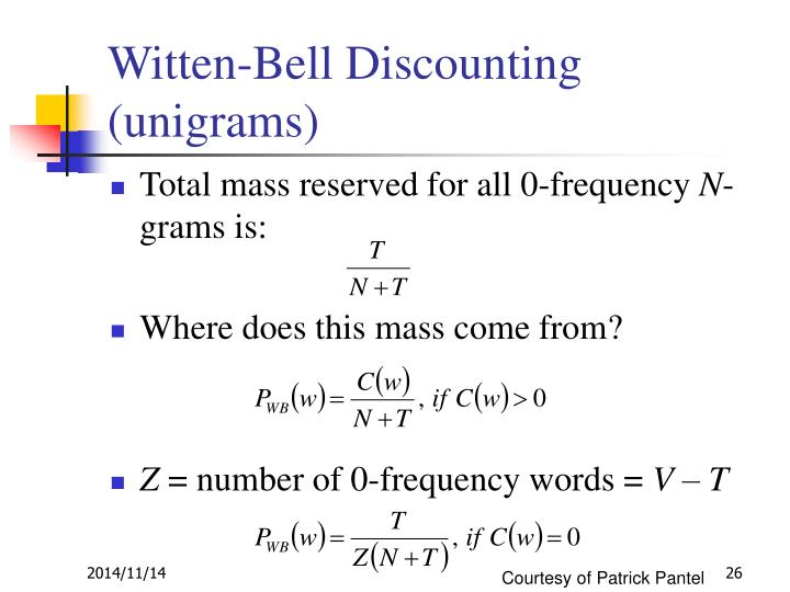 Witten-Bell Discounting (unigrams)
