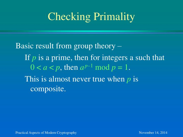 Checking Primality
