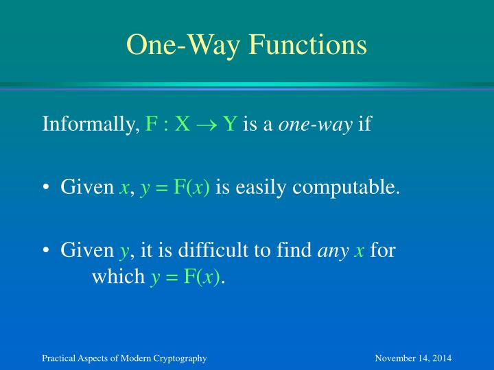 One-Way Functions