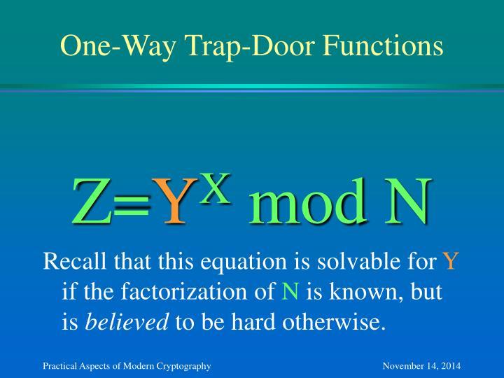 One-Way Trap-Door Functions