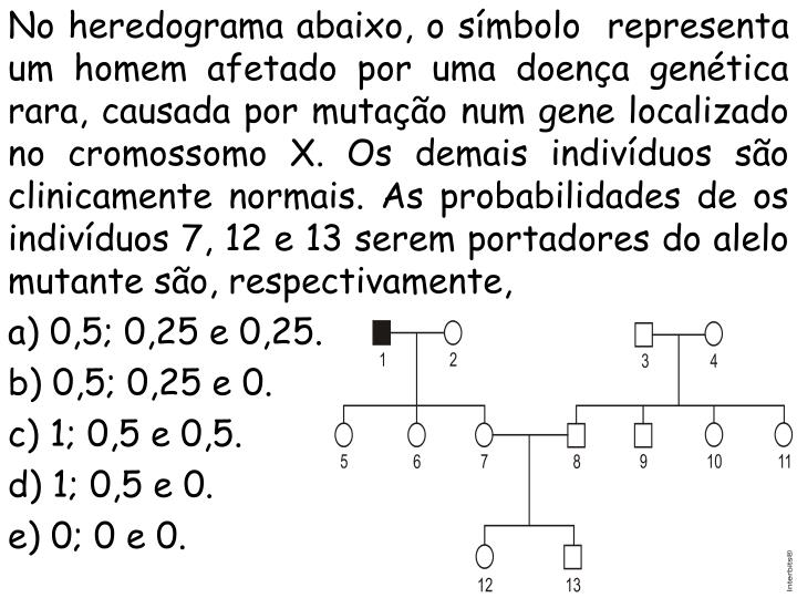 No heredograma abaixo, o símbolo  representa um homem afetado por uma doença genética rara, causada por mutação num gene localizado no cromossomo X. Os demais indivíduos são clinicamente normais. As probabilidades de os indivíduos 7, 12 e 13 serem portadores do alelo mutante são, respectivamente,
