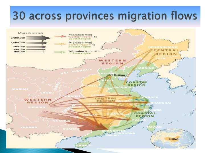 30 across provinces migration flows