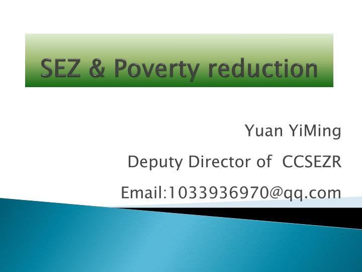 SEZ & Poverty reduction