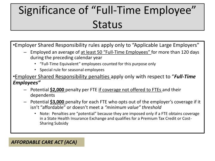 "Significance of ""Full-Time Employee"" Status"