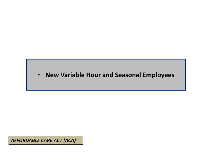 New Variable Hour and Seasonal Employees