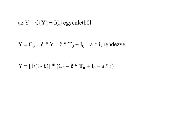 az Y = C(Y) + I(i) egyenletből