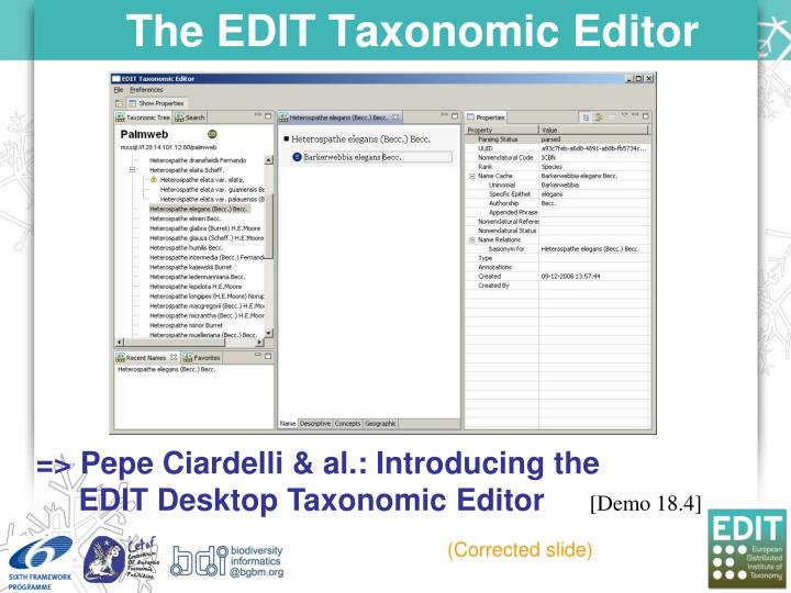 The EDIT Taxonomic Editor