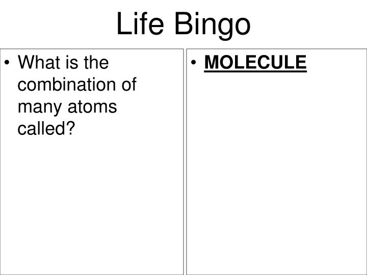 What is the combination of many atoms called?