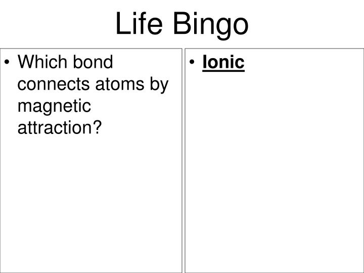Which bond connects atoms by magnetic attraction?