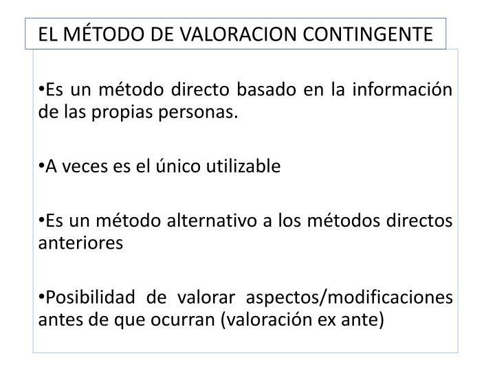 EL MÉTODO DE VALORACION CONTINGENTE