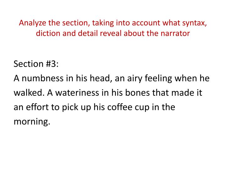 Analyze the section, taking into account what syntax, diction and detail reveal about the