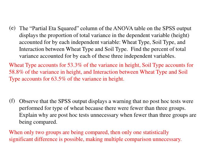 "The ""Partial Eta Squared"" column of the ANOVA table on the SPSS output displays the proportion of total variance in the dependent variable (height) accounted for by each independent variable: Wheat Type, Soil Type, and Interaction between Wheat Type and Soil Type.  Find the percent of total variance accounted for by each of these three independent variables."