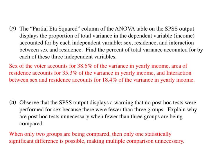 "The ""Partial Eta Squared"" column of the ANOVA table on the SPSS output displays the proportion of total variance in the dependent variable (income) accounted for by each independent variable: sex, residence, and interaction between sex and residence.  Find the percent of total variance accounted for by each of these three independent variables."