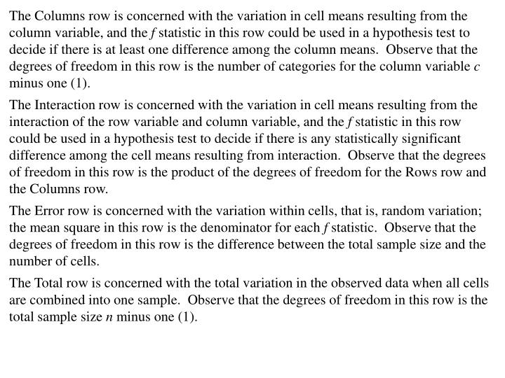 The Columns row is concerned with the variation in cell means resulting from the column variable, and the