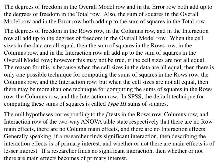 The degrees of freedom in the Overall Model row and in the Error row both add up to the degrees of freedom in the Total row.  Also, the sum of squares in the Overall Model row and in the Error row both add up to the sum of squares in the Total row.