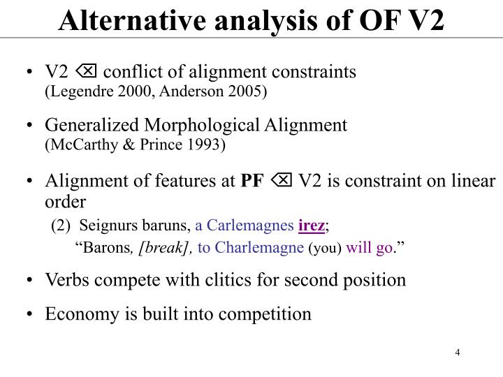 Alternative analysis of OF V2