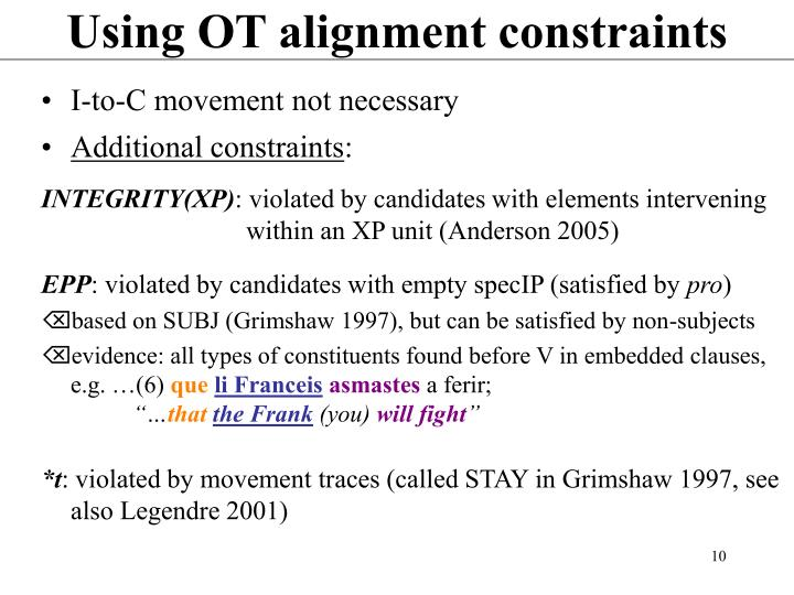 Using OT alignment constraints